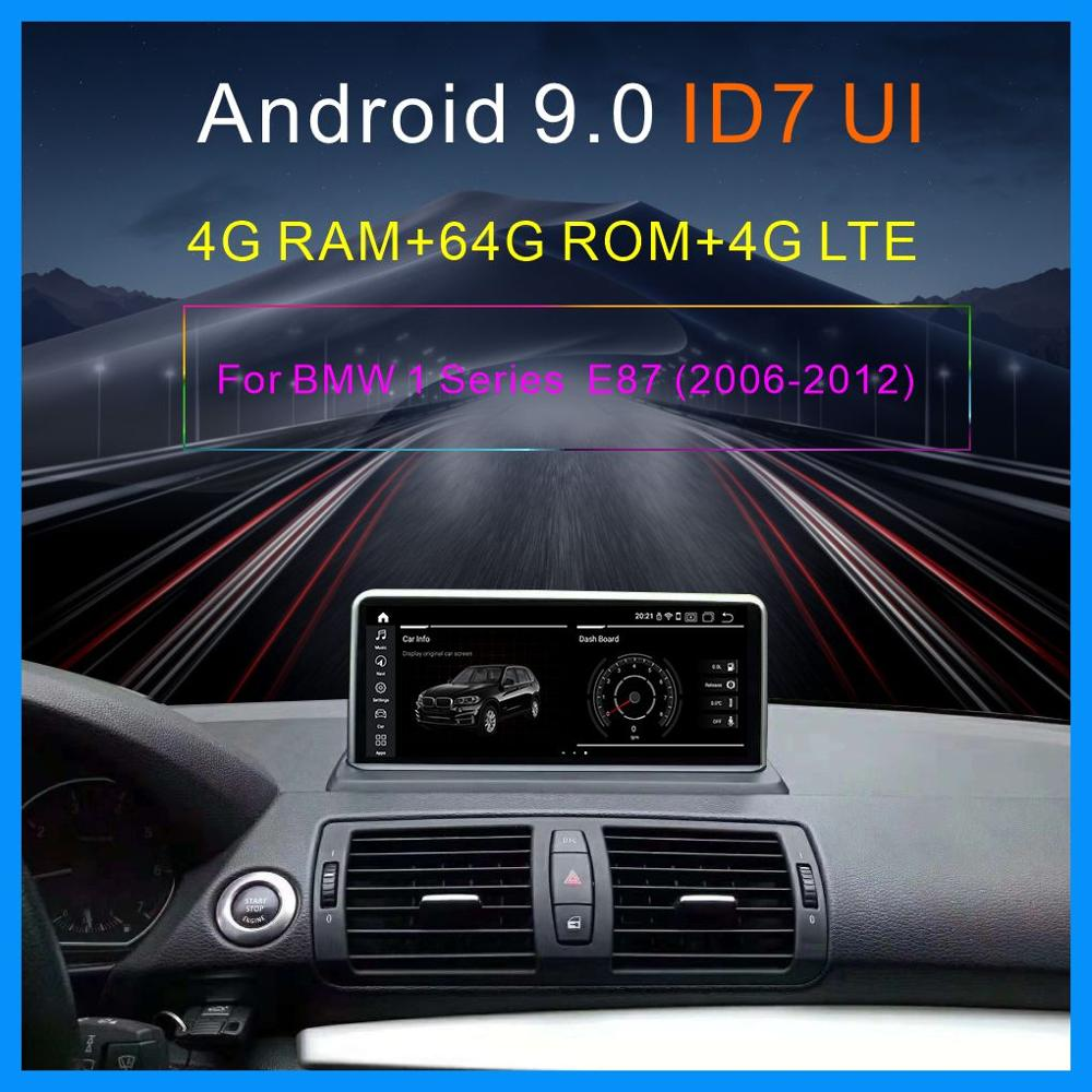 IPS 4G+64G <font><b>Android</b></font> <font><b>9.0</b></font> player 4G LTE for <font><b>BMW</b></font> <font><b>E87</b></font> E81 E82 E88 2005-2012 Car GPS player GPS Navi Screen WIFI Google Carplay Idrive image