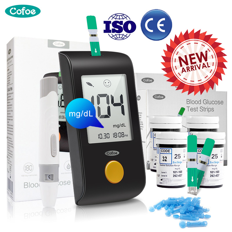 Cofoe Glucometer Yiling Mg/dL Medical Blood Glucose Meter Diabetes Blood Glucose Test Strips And Lancet Household Glucose Meter