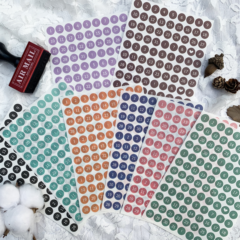 WOKO 8pcs New Lovely Colorful Circle Digital Sticker Cute Number Daily Week Plan Basic Decorativ Stickers DIY Scrapbooking Diary