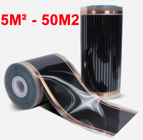 5m2-50m2 Carpet Ceiling Wall Or Under Floor Far-Infrared Electric Heating Film AC220V 50cm Width 220W/M2 Low Consumption