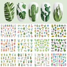 12 tasarımlar kaktüs su çıkartmaları tırnak Sticker yeşil bitki yaprak filigran gevreği kaymak dövme Nail Art dekorasyon LABN1261 1272 1