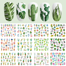 Décalcomanies pour les ongles en Cactus, autocollants pour les ongles, feuille de plante verte, flocons filigrane, tatouage coulissant, décoration de Nail Art, 12 modèles, LABN1261 1272 1