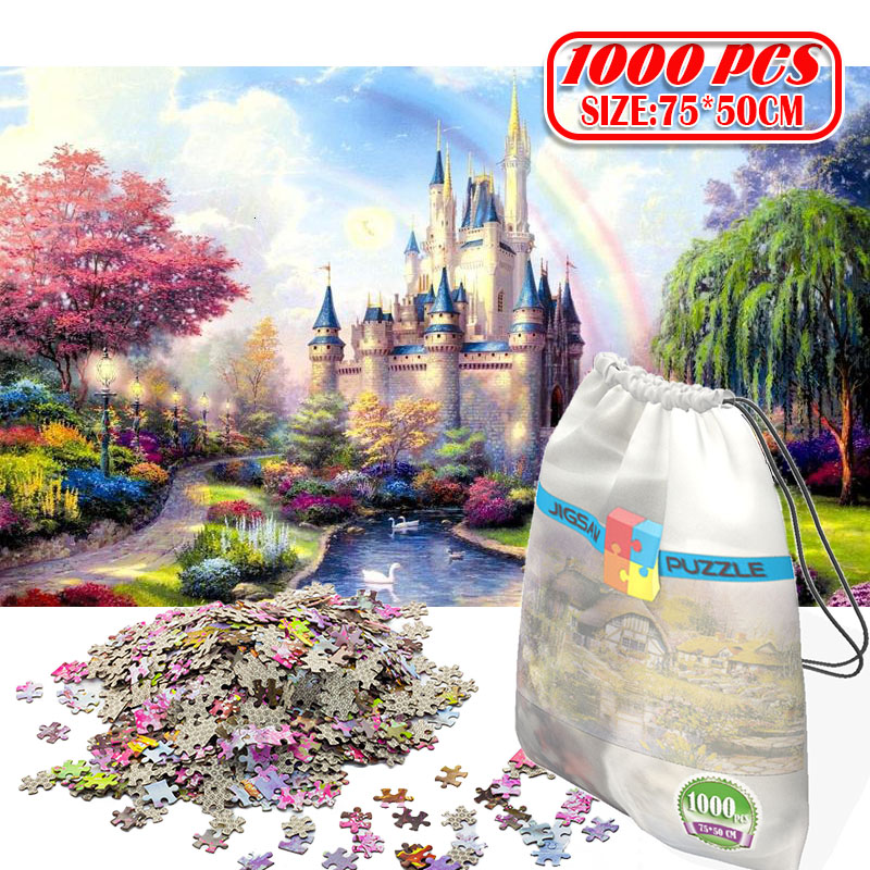 1000Pcs 3D Paper Jigsaw Puzzle for adults kids toys puzzles wooden Educational Toys Decoration Stickers Rainbow Castle(China)
