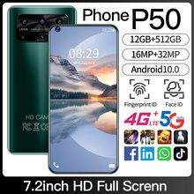 100% original versão global p50 7.2 Polegada smartphone 12 + 512g telefone celular phonehd android 10 selfie grande tela dupla cartão