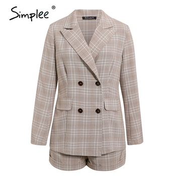 Simplee Two-piece blazer women suits Double breasted plaid casual female blazer shorts set Elegant office ladies blazers sets 7
