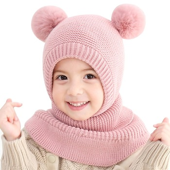 Children's Knitted Hat Baby Boys Girls Warm Caps Ski Cap With Ear Design Pom Winter 2 In 1 Knit Beanie Hat Scarf Windproof Mask цена 2017