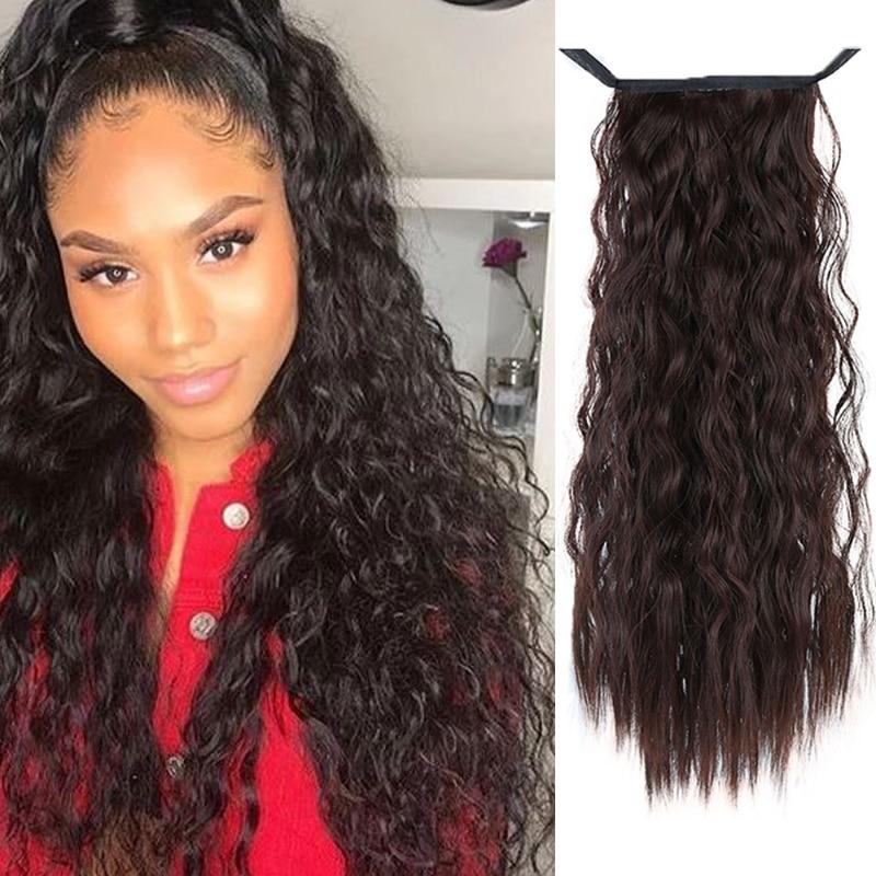 Long Kinky Curly Drawstring Ponytail Clip In Pony Tail Hair Extensions Bun Drawstring Ponytail African American Bu