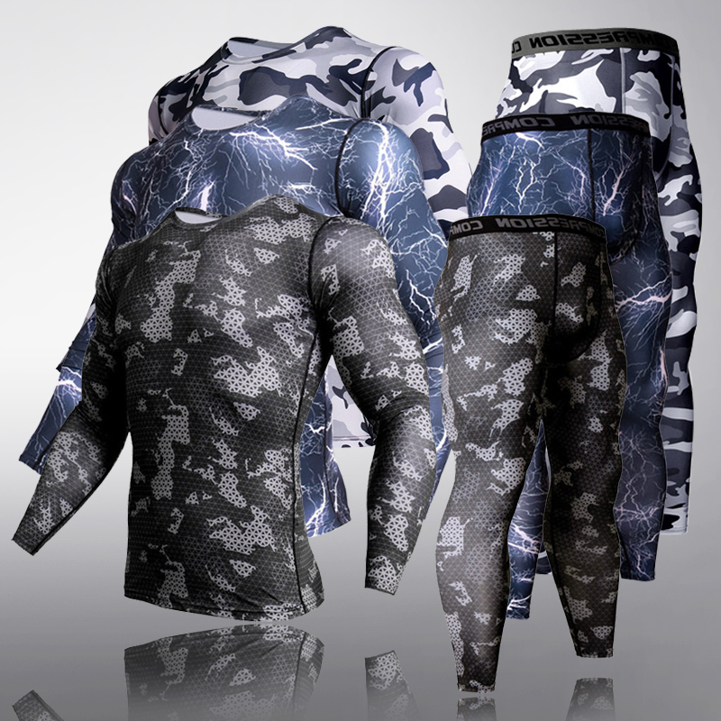 Mens Thermal Long Johns Camouflage Tactical Underwear MMA Leggings New Track Suit Men Sportswear Thermal Underwear Sport Suit