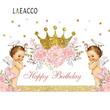 Laeacco Princess Birthday Backdrops For Photography Baby Shower Golden Crown Lovely Party Banner Photo Background Photocall