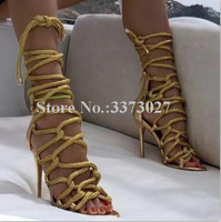 Gold Color Lace up Ropes High Heel Sandals Lady Fashion Thin Heel Gladiator Sandals Woman Sexy Stiletto Pumps Party Shoes