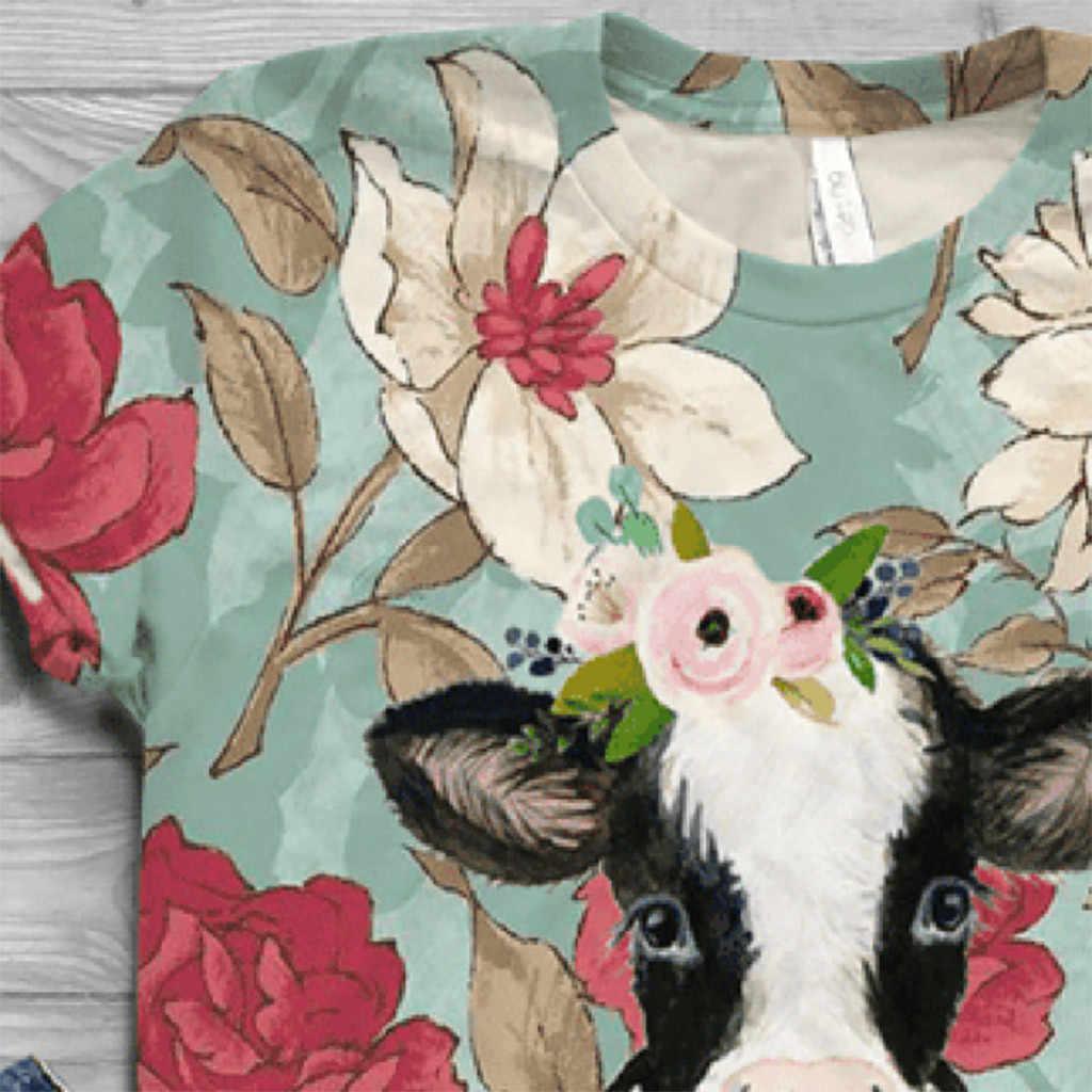 女性の漫画牛プリント tシャツ半袖アニマルプリント tシャツ o ネックカジュアルトップ tシャツ女性 2020