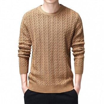 100% Cotton Sweater Men 2020 Autumn Winter Slim Fit Pullovers Men Argyle Pattern O-Neck Pull Homme Christmas Sweaters Black 3XL