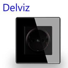 Delviz-enchufe estándar europeo, toma de corriente de pared con panel de cristal, 16A, UE, agujero redondo, Alemania