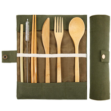 6pcs Portable wooden dishes bamboo skewers knives soup teaspoon food cutlery set cloth bag Chopsticks Outdoor Tableware Tool