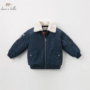 Image 2 - Dbk10691 데이브 벨라 겨울 아이 소년 재킷 면화 의류 어린이 겉옷 패션 해군 지퍼 코트