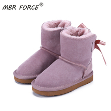 MBR FORCE 2020 Fashion Children Genuine leather fur lined short ankle snow boots for Boys Girls keep warm winter Snow Boots