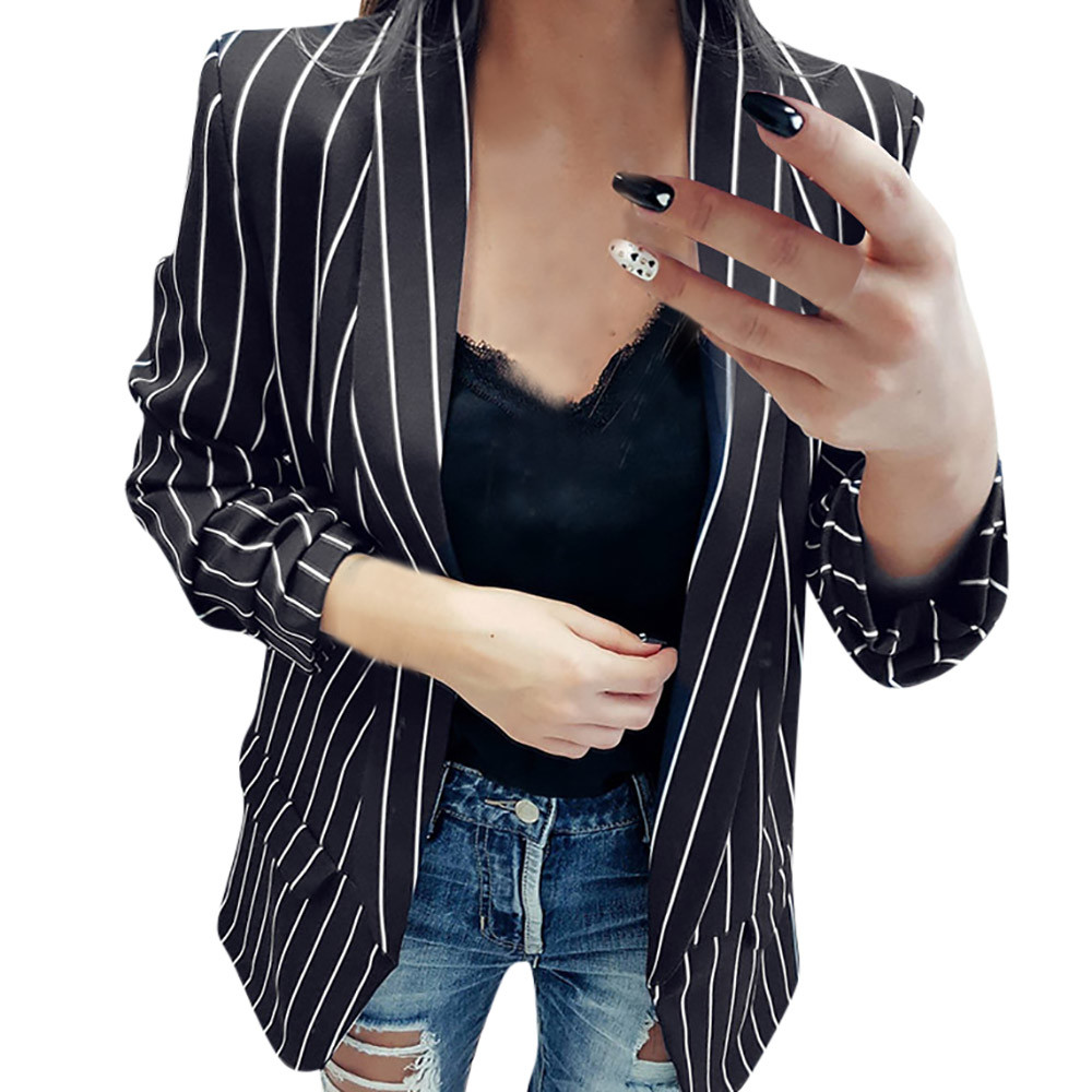 Striped Print blazer feminino Ladies Long Sleeve Notched Stylish Duster Blazer Jacket Coat Office Lady bleizer mujer 2020