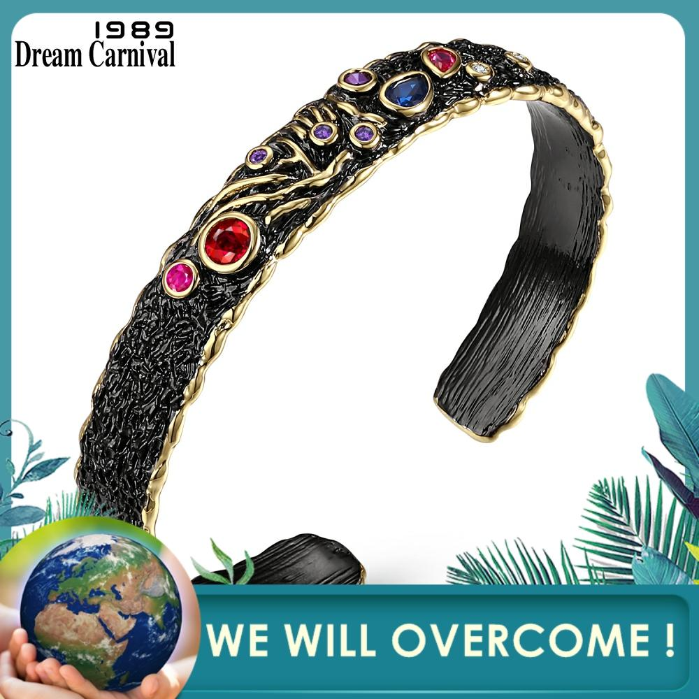 DreamCarnival 1989 Neo Gothic Vintage Open End Black Gold Mix Colors Zircon Bangle for Women Wholesale Drop Ship Mulheres WB1156