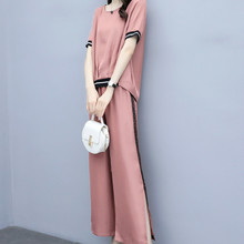 New summer fashion shows thin wide leg pants temperament casual short sleeve two piece set female цена и фото