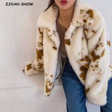Furry Women Coat Fur Jacket Short Hairy Notched-Collar Cow-Leopard Shaggy Winter Outerwear