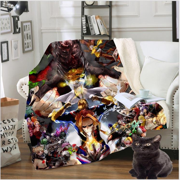 3D Print Anime My Hero Academia Blanket Midoriya Izuku Fleece Travel Quilt Sofa Keep Warm Throw Plush Blankets Bedspread B130