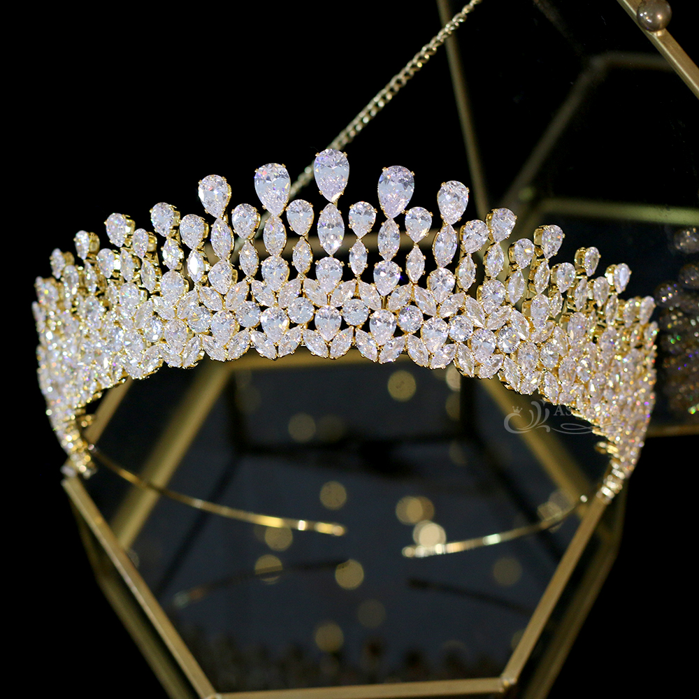 Image 5 - New silver drop Tiara crystal headdress wedding hair accessories 