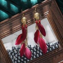 2020 Women's Handmade Long Chain Feather Earrings Indian Jhumka Jewelry Gold Metal Round Flower Carved Dangle Earrings Hangers
