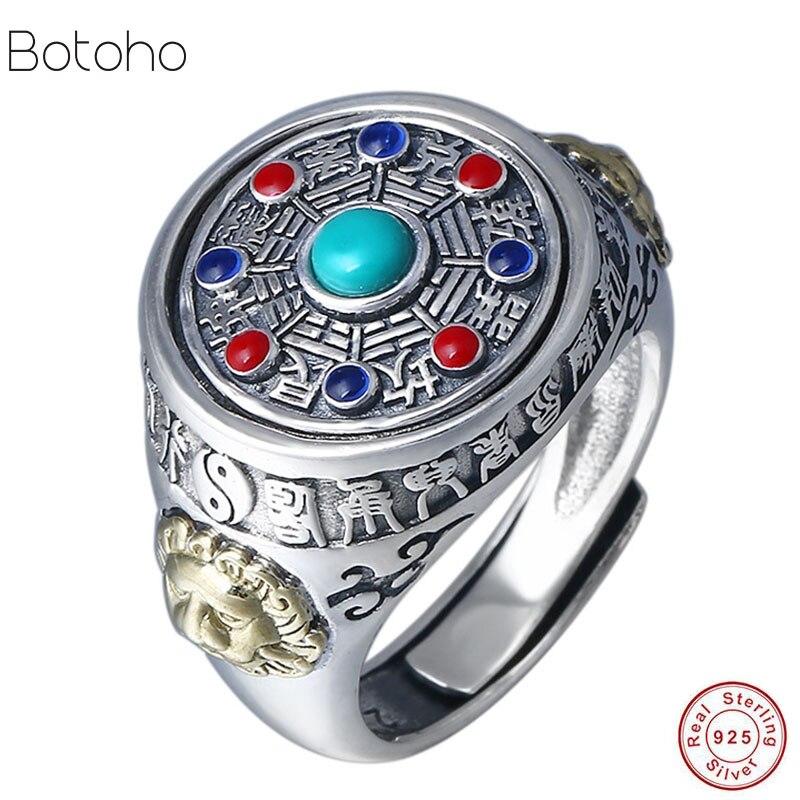 Vintage S925 bague en argent Sterling bijoux exagéré grand hommes anneaux rotatif Jiugong Bagua femmes réglable anneau nouveau cadeau