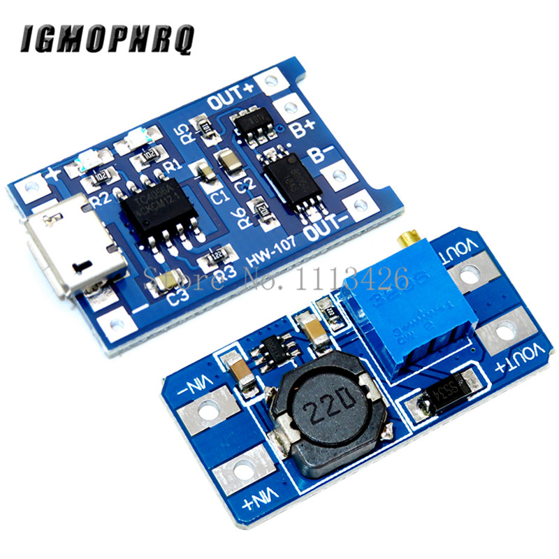 Micro USB 5V 1A 18650 TP4056 Lithium Battery Charger Module Charging Board With Protection + MT3608 2A DC-DC Step Up Converter