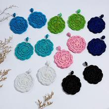 New Trendy Rose Flower Hand-woven Rice Beads Earrings for Women Colorful Handmade Round Shape Dangle Drop Earring Jewelry
