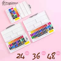 Gigione Macarons acuarela pigmento sólido Set 24/36/48 Color principiante embalaje portátil con materiales de arte de paleta de Color