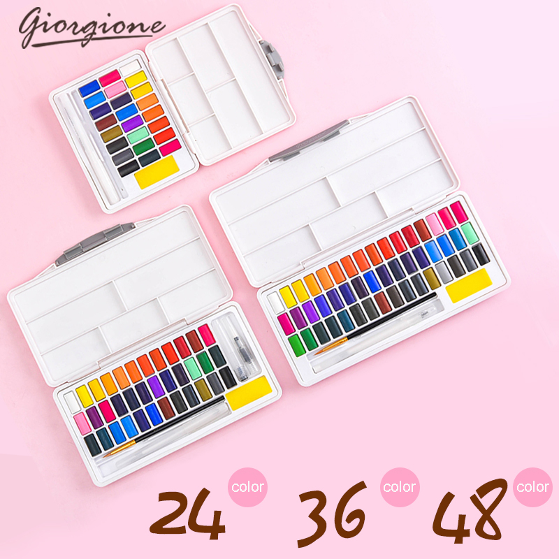 Giorgione Macarons Watercolor Pigment Solid Set 24/36/48 Color Beginner Packing Portable with Color Palette Art Supplies image