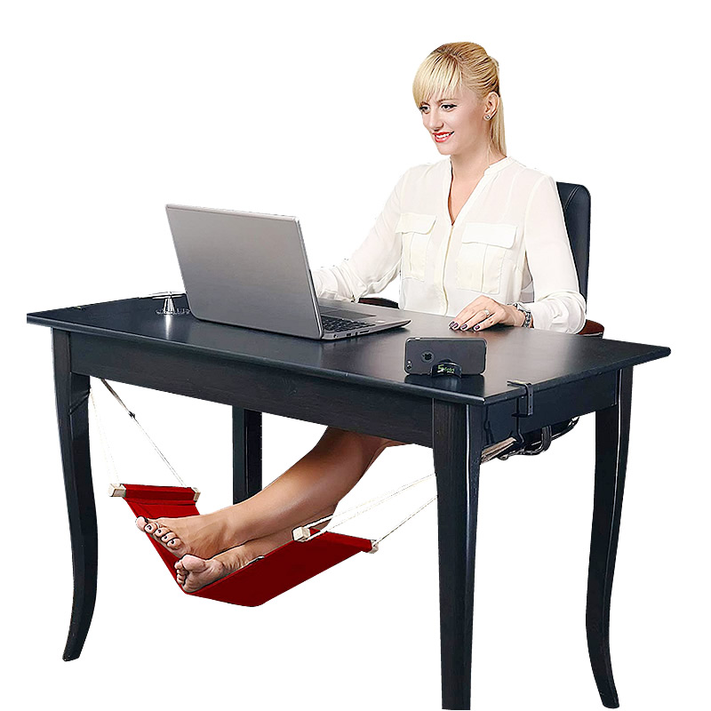 Goodwin Canvas Foot Rest Desk Hammock Mini Office Under Desk Foot Rest Stand Foot Hammock , Adjustable Desk Feet Hammock