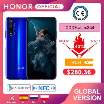 Перейти на Алиэкспресс и купить В наличии глобальная версия Honor 20 смартфон 6G128G Kirin 980 Восьмиядерный 6,26 ''48MP четыре камеры мобильный телефон Google Play SuperCharge NFC