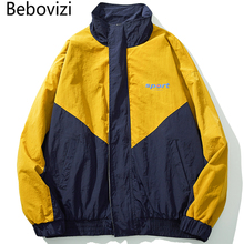 Bebovizi 2019 Autumn Men Retro Color Block Patchwork Zip Up Coat Hip Hop Windbreaker Jackets Harajuku Streetwear Track Jacket недорого