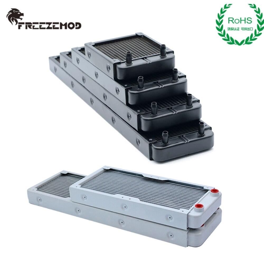 Freezemod alumínio radiador 32mm espessura 90/120/240/360/480mm g1/4 thread porto pagoda conector rohs refrigerador de água dissipador de calor