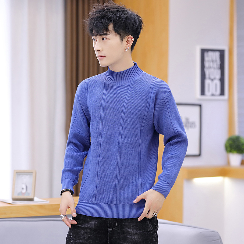 Pink Gray Mens Sweaters New Blue Beige Fashion Round Collar Long Sleeves Winter Leisure.men Sweater Casual Turtleneck Pullovers