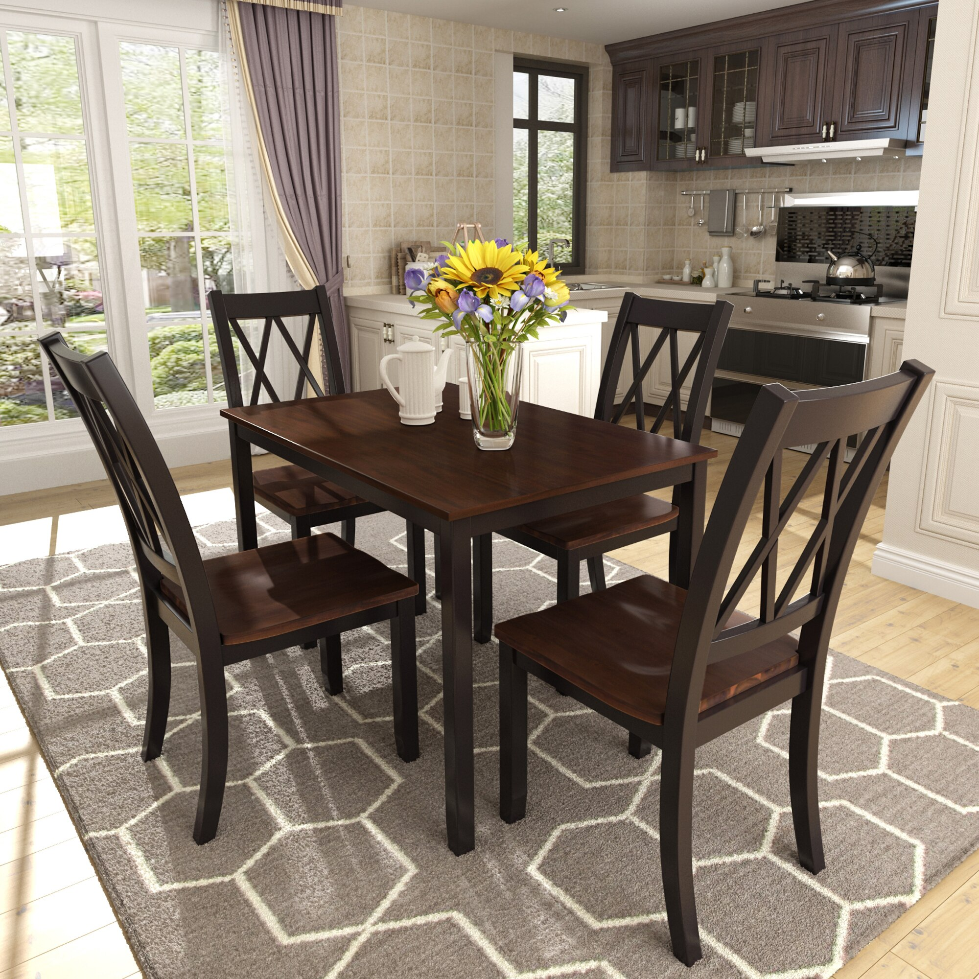 Classical 5 Piece Dining Table Set Home Kitchen Table And Chairs Wood Dining Set Black Cherry Aliexpress