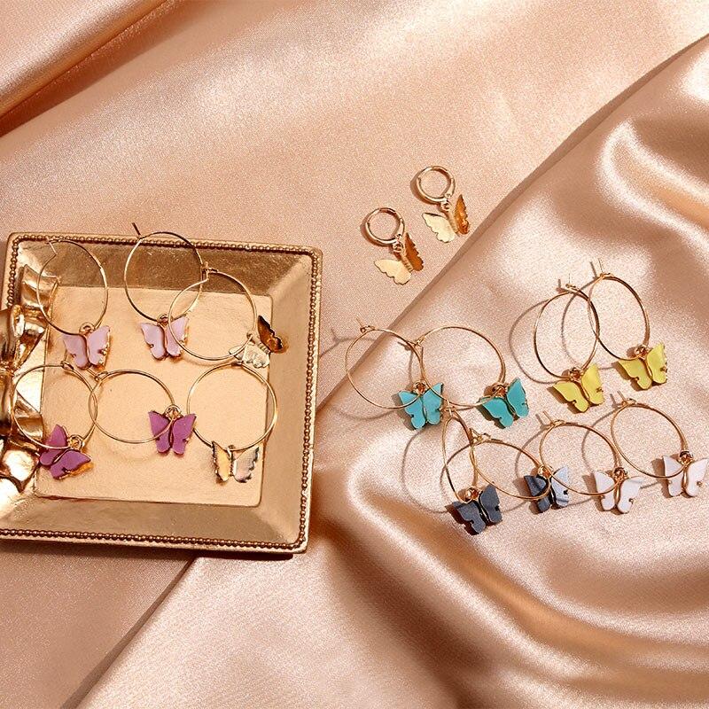 Flatfoosie Korean Acrylic Butterfly Big Hoop Earrings For Women Circle Fashion Gold Silver Color Cute Pendant Earrings Jewelry