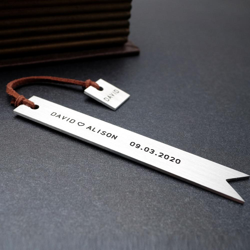 Personalized Bookmark Custom Engraved Bookmark Metal Bookmark Wedding Favor Valentine's Day Gift Christmas Gift