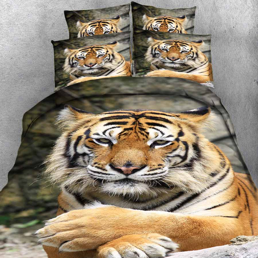 WOSTAR 3d Bedding Sets Animal Pattern Bed Sheet Duvet Cover Pillowcase Home Textiles King Size Bedding Set Cute Tiger