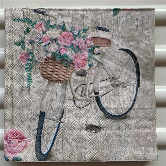 Set of 4 Vintage bike napkins for decoupage Paper serviettes Retro bicycle flowers paper napkin 4 decoupage napkins 33x33 Scrapbooking paper