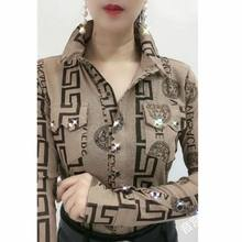 Shirt women's spring and summer new fashion women's Lapel sexy long sleeve