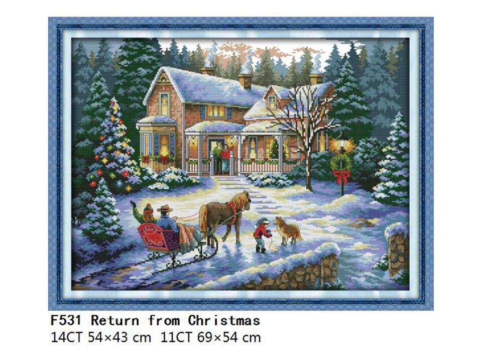 Landscape Patterns Joy Sunday Cross Stitch Printed Cross Stitch Kits DMC 11CT 14CT Cross Stitch Kits Embroidery Needlework Sets  (4)