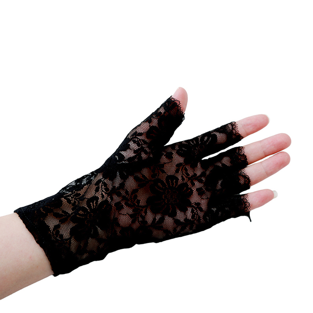 Womens Sexy Dressy Lace Gloves Sunscreen Short Gloves Fingerless Lace Driving Gloves Spring And Summer Mittens Accessories 3