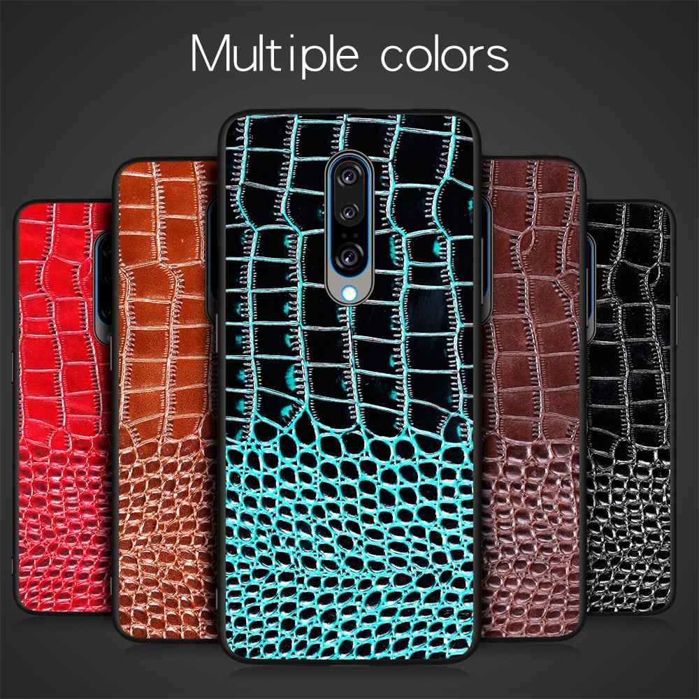 التمساح نمط جلد طبيعي الغطاء الخلفي جراب هاتف لينوفو Z6 برو S5 برو K5 برو الهاتف المحمول قذيفة