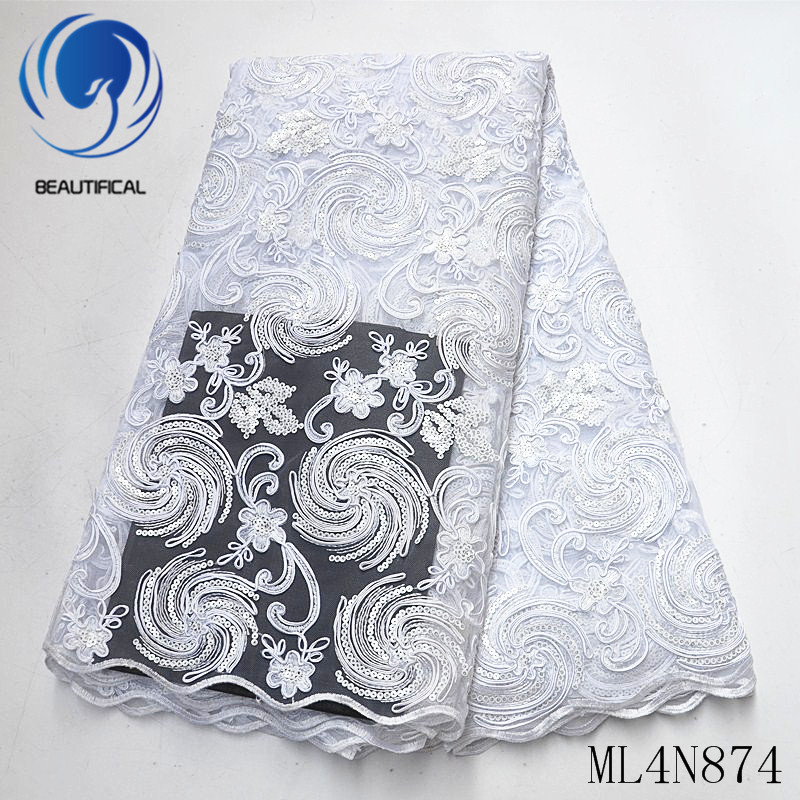 Beautifical african lace fabrics Fashion design tulle lace embroidery fabric with sequins 5yards nigerian net lace ML4N874