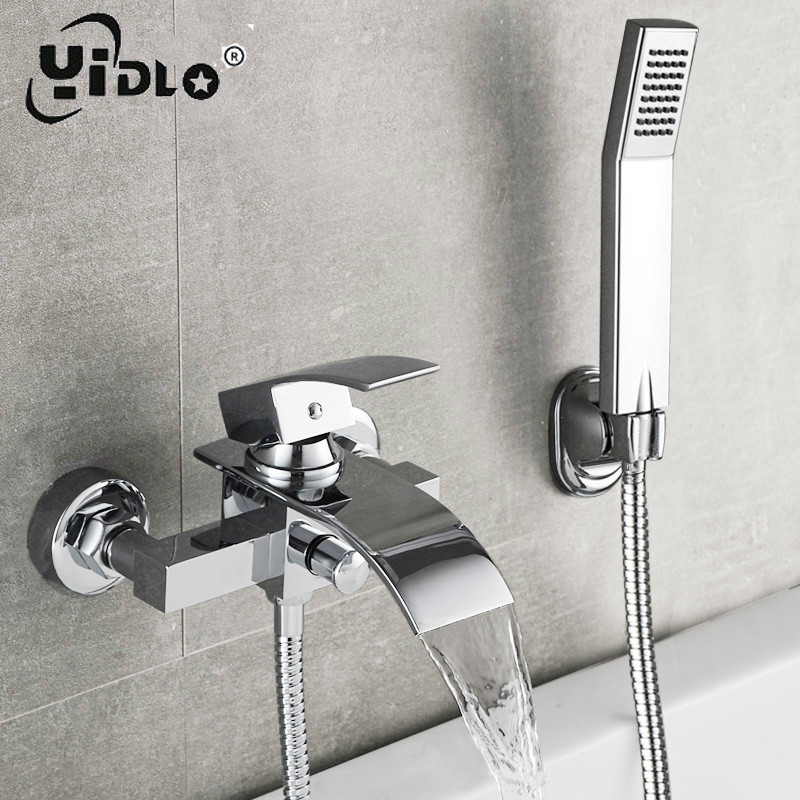 Bathtub Shower Set Wall Mounted Waterfall Bath Faucet Bathroom Cold and Hot Mixer Taps Brass Chrome in Bathtub Faucets from Home Improvement