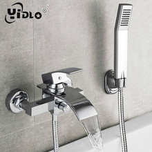 Bathtub Shower Set Wall Mounted Waterfall Bath Faucet, Bathroom Cold and Hot Mixer Taps Brass Chrome