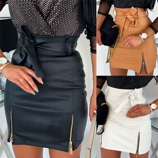 Sexy Women Black PU Leather Pencil Bodycon Skirt Clubwear Double Zipper High Waist Mini Short Skirt Belt Black White Khaki Skirt